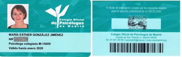 Carnet colegio oficial psicólogos de Madrid